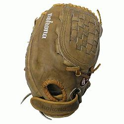 a Banana Tanned is game ready leather on this fastpitch nokona softball glove.