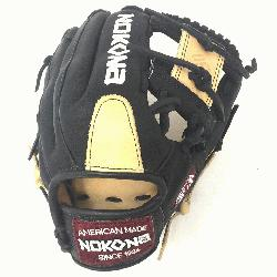 nYoung Adult Glove made of American Bison and Supersoft Steerhide leather combined in black