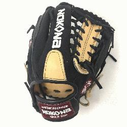 ng Adult Glove made of American Bison and Supersoft Steerhide leather combined in black and cream c