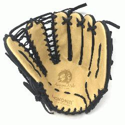 oung Adult Glove made of American Bison and Supersoft Steerhide leather combined in black and cream
