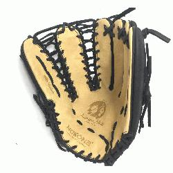 Glove made of American Bison and Supersoft Steerhide leather combined in black and cream colors. No