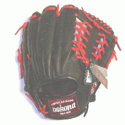 fessional steerhide baseball glove with red laces, modified trap web, and open back.