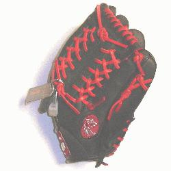 essional steerhide baseball glove with red laces, modified trap web, and open back