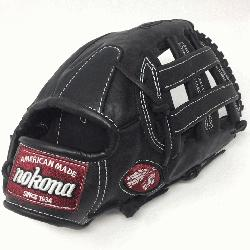 eerhide black baseball glove with white stitch