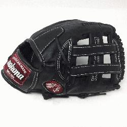 m steerhide black baseball glove with white stitching and h web. The Nokona Legend