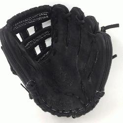 num steerhide black baseball glove with white stitching and h web. T