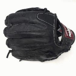 kona preminum steerhide black baseball glove with white stitching and h web. The Nok