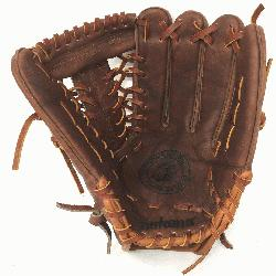walnut leather baseball glove with modified trap web and
