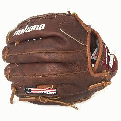 Nokona Classic Walnut Youth Baseball Glove. 10.5 inch with closed basket web. Open Bac