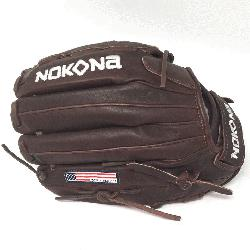 Pitch Softball Glove 12.5 inches Chocolate lace. Nokona Elite performance ready for play posit