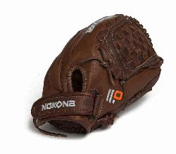ite Fast Pitch Softball Glove. Stampeade leather close web and velcro closure back. Nokona Eli