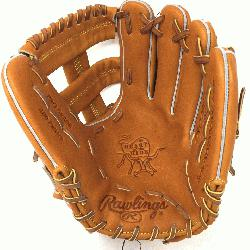 Hide baseball glove from Rawlings features a conventional back and a single post web. This