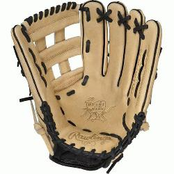 "is Heart of the Hide 12.75"" baseball glove features a"