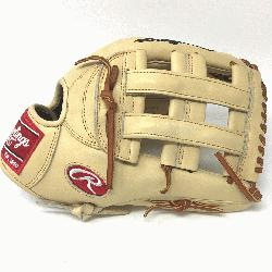 Rawlings Heart of the Hide Camel leather. 12.75 inches. H Web Open Back. Tan laces. Deer