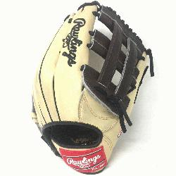 the Hide 12.75 inch baseball glove. H Web. Open Back. Camel with chocolate brown web, black laces