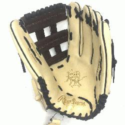 f the Hide 12.75 inch baseball glove. H Web. Open Back. Camel with chocola