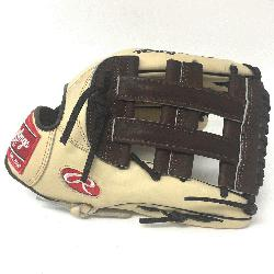 of the Hide 12.75 inch baseball glove. H Web. Open Back. Camel with chocolate brown