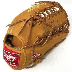 of the Horween leather 12.75 inch outfield glove with trap-eze web. No palm pad. Stiff H
