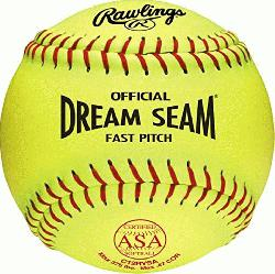 A SOFTBALL ASA NFHS approved fastpitch softball Yellow cover & 88 Red stitches Po