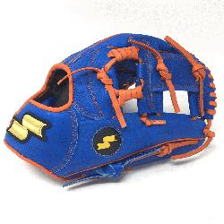 .50 Inch Baseball Glove Colorway: Blue | Orange Conventional Open Back Dimple Sensor Te