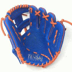 0 Inch Baseball Glove Colorway: Blue | Orange Conventional Open Back Dimple Sensor Tec