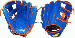 l Glove Colorway: Blue | Orange Conventional Open Back Dimple Sensor Technology Infield G