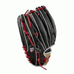 ross web with Baseball stitch New pattern featuring gap welting Black, blonde and Red Pro Stock lea