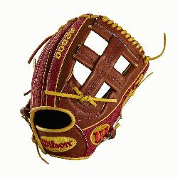 l, Cross web - game WTA20RB18DP15GM for Dustin pedroia Red SuperSkin with saddle tan and yellow