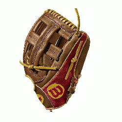 infield model, Cross web - game WTA20RB18DP15GM for Dustin pedroia Red SuperSkin with saddle tan