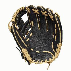 seball glove Made with pedroia fit for players with a smaller hand H-Web design Black and b