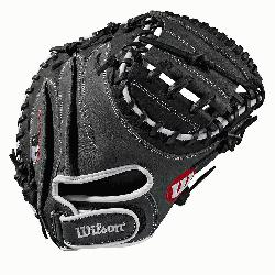 33 catchers mitt Half moon web Grey and black Full-Grain leather Velcro b