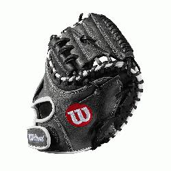33 catchers mitt Half moon web Grey and black Full-Grain leather Velcro back. The A1000 li