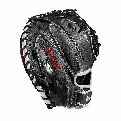 mitt Half moon web Grey and black Full-Grain leather Velcro back. The A1000 li