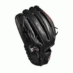 glove Pitcher WTA20RB19B125 Two-piece web Black Pro Stock leather, preferred for its rugged dura