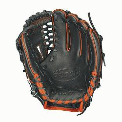 lson A2000 Baseball Glove 11.25 inch 1788A. Black Pro Stock Leather with Orange Welting an