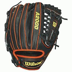 eball Glove 11.25 inch 1788A. Black Pro Stock Leather with Orange Welting and Bindin