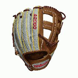 ame WTA20RB19DP15GM for Dustin pedroia; Cross web Grey SuperSkin with saddle tan and y