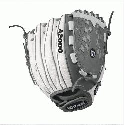 .5 Wilson A2000 V125 White Super Skin 12.5 Outfield Fastpitch GloveA2000 V125 White Super Skin