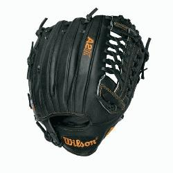 W Pitcher Baseball Glove Black Tan 12 in (Right Handed T