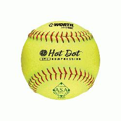 low pitch softballs have red stitching and are approved for play in the ASA with a .5